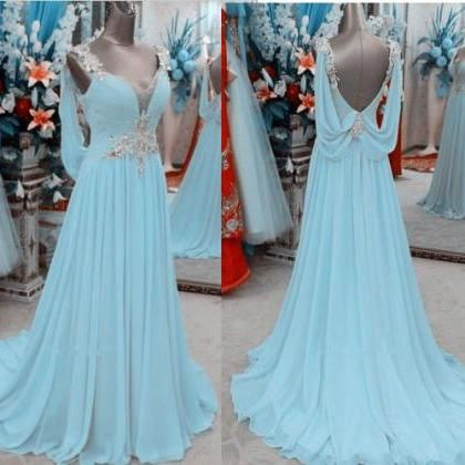 Light Sky Blue Prom Dress