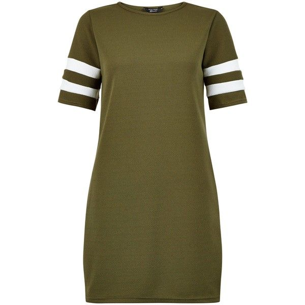 New Look Teens Khaki Stripe Sleeve Tunic Dress ($19) ❤ liked on Polyvore featuring dresses, khaki, stripe dresses, new look dresses, brown striped dress, sleeved dresses and khaki dress