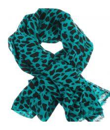 Lundorf handwowen scarf pure fine wool with animalprint