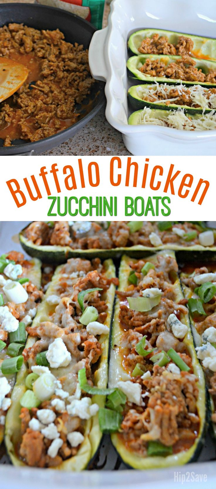 You'll definitely want to add these deliciously satisfying Buffalo Chicken Zucchini Boats to your LOW CARB meal rotation!