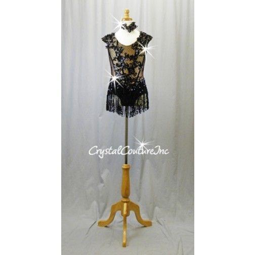 13be6dc497b12 Black and Nude Leotard with Sequin Fringe Skirt - Swarovski Rhinestones -  Size AXS