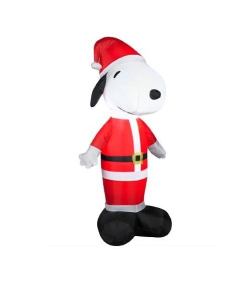 35\u0027 Inflatable Peanuts LED Lighted Snoopy Santa Claus Christmas