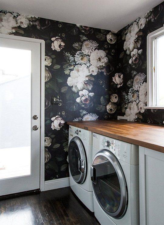 black floral wallpaper laundry room pencil shavings studio