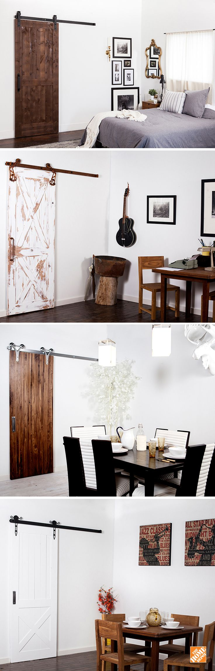 Here's a functional and stylish idea for a room upgrade: install a barn door. Each kit comes prepackaged with all parts included. You get more space, more style and a doorway that easily slides open. From rustic and modern looks, to wood, composite, steel and more, there's a lot you can do to transform your space. Click through to see them at The Home Depot!