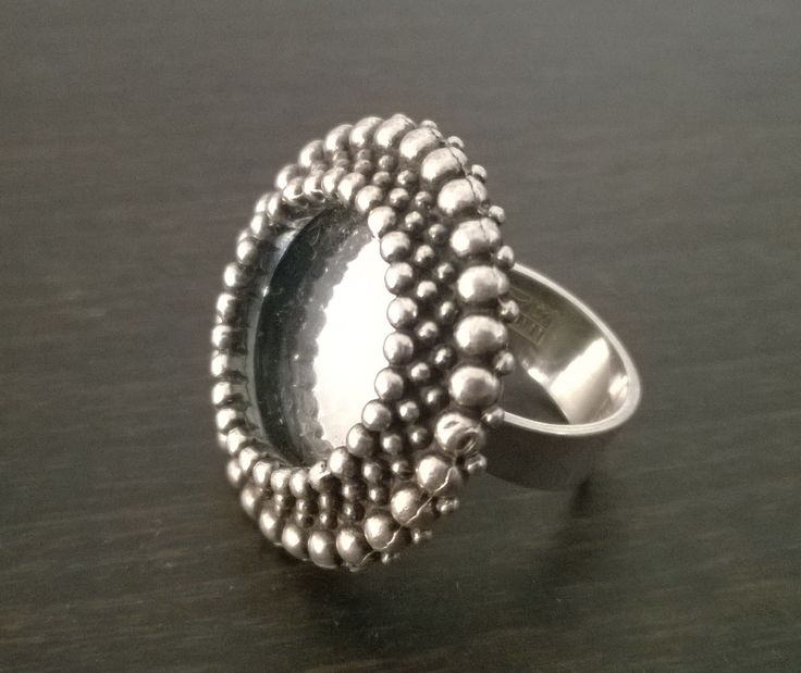 Erik Granit vintage silver ring with mirror