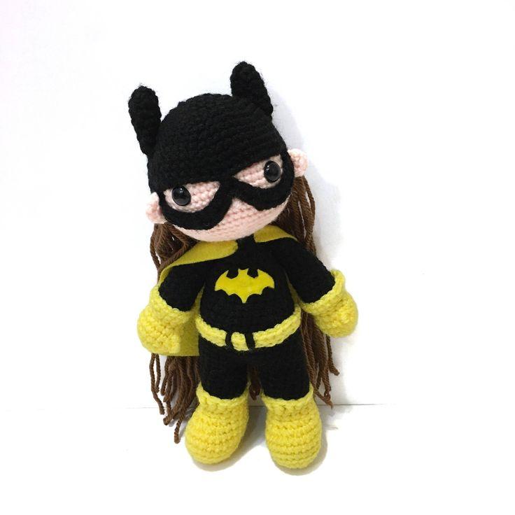 Op bestelling gemaakt Amigurumi Batgirl geïnspireerd pop haak Batgirl speelgoed Batgirl pluche foto Prop kwekerij Decor meisjes speelgoed verjaardag Baby douchegift
