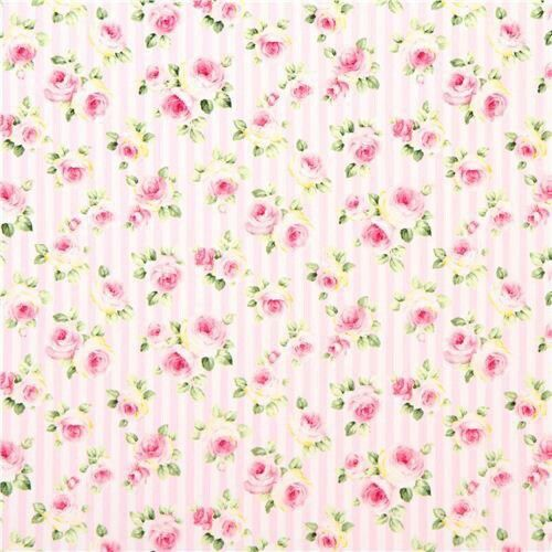 Pretty roses on pink striped background