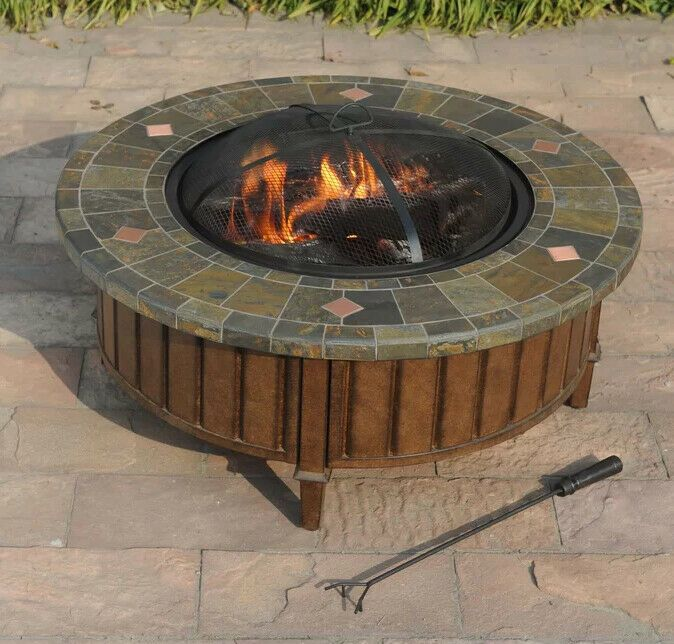 Fire Pit Table Large 40 Round Rustic Steel Outdoor Wood Burning Slate Mosaic Outdoorfirepit Wood Burning Fire Pit Fire Pit Patio Gas Fire Table