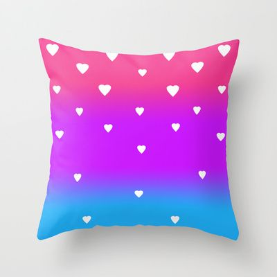 Rainbow with White Hearts Throw Pillow for teen girls bedroom bedding decor #decampstudios