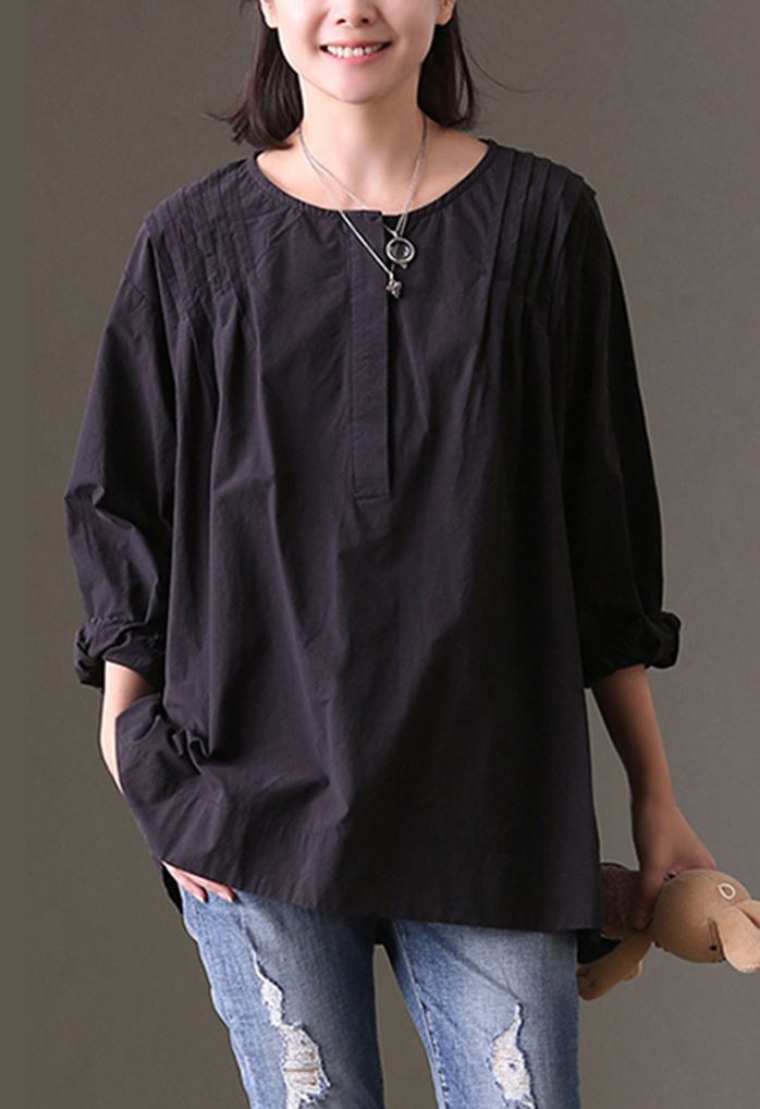 7e104c5f5b6 baggy black cotton tops plus size cotton clothing blouses Fine ...