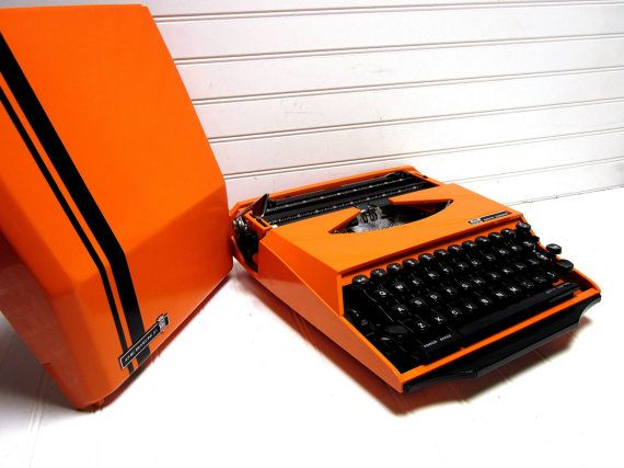 Vintage Typewriter Orange Smith Corona Super by GoodBonesVintageCo, $260.00