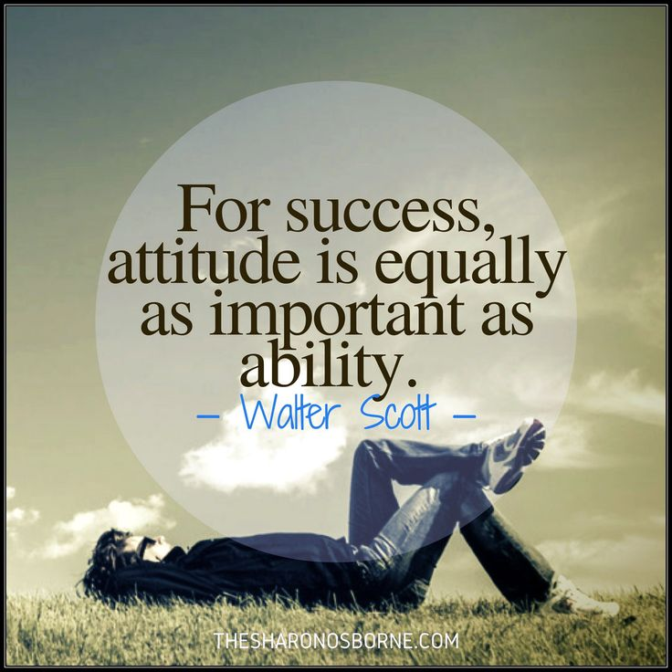 For success, attitude is equally as important as ability. — Walter Scott