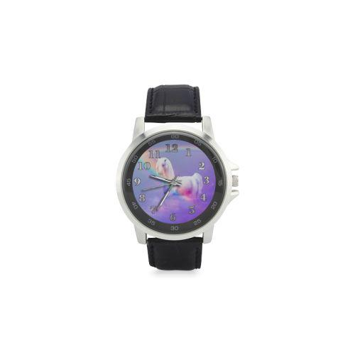 Unicorn and Rainbow Unisex Stainless Steel Leather Strap Watch. FREE Shipping. #artsadd #watches #unicorn