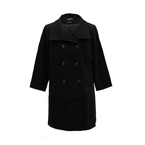 2XP Ferrecci Womens Plus Size Black Kylie Double Breasted Peacoat