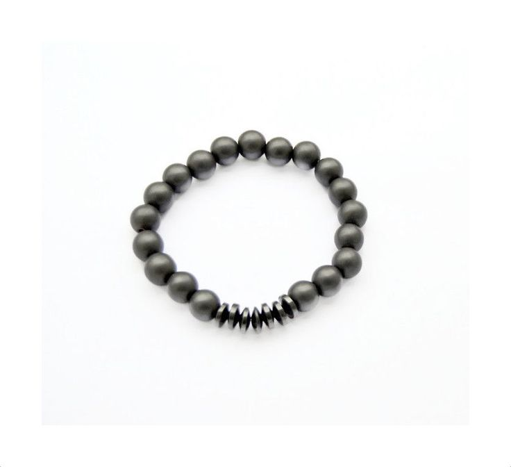 Men's Matte Hematite Bracelet, Gemstone 10mm Beads, Stretch Jewelry, unisex #oyaikubijou #Beaded