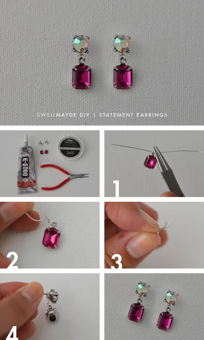 Find This Pin And More On Dance Biju Diy Rhinestone Statement Earrings