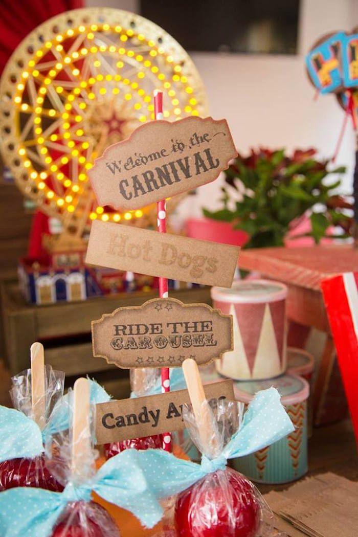 Mini Table Sign from a Circus Carnival Baby Shower via Kara's Party Ideas KarasPartyIdeas.com (30)