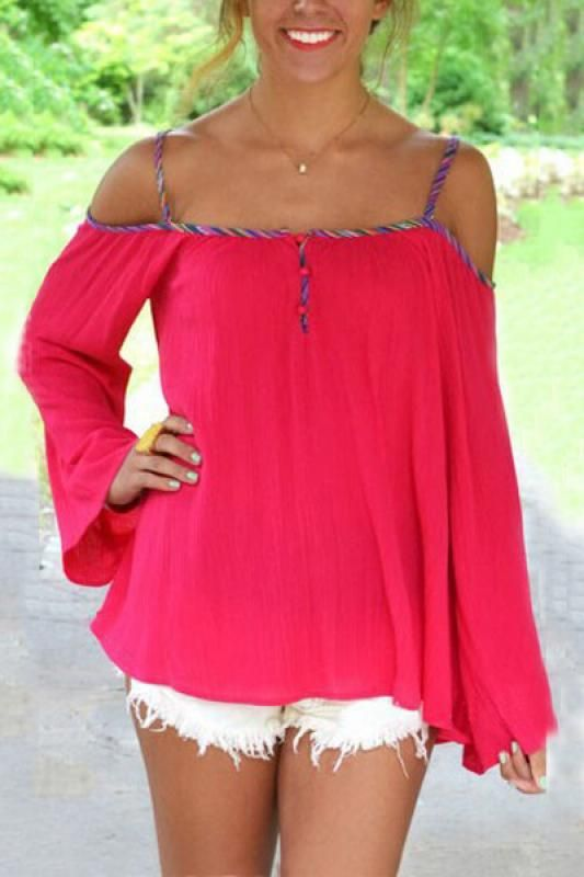 Back Hollow-out Off-Shoulder Long Sleeve T-shirt