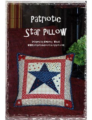"""Patriotic Star Pillow made using the freezer paper method of construction. Also highlights using """"Texture Magic"""""""