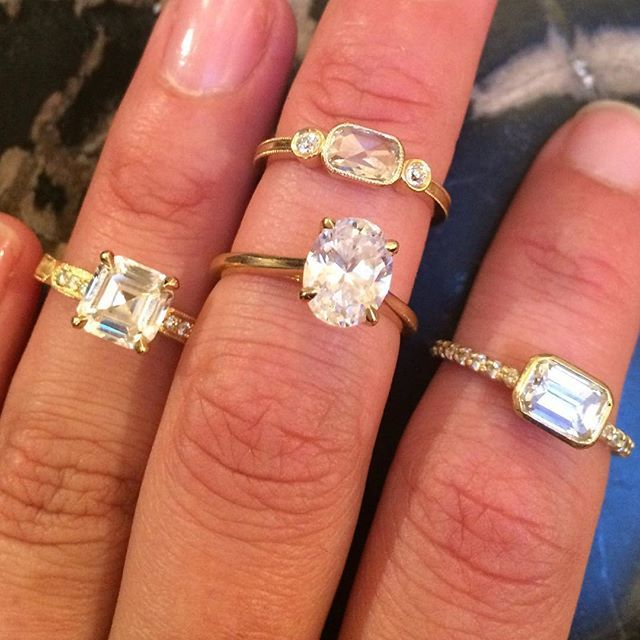 Check out all the pretty horses in this stable! @christineguibara it's always MY pleasure. #knucklesandwich #fistfullofglitter #diamonds #alternativebride #twistonaclassic #ovaldiamondengagementring #asschercut #eastwestring