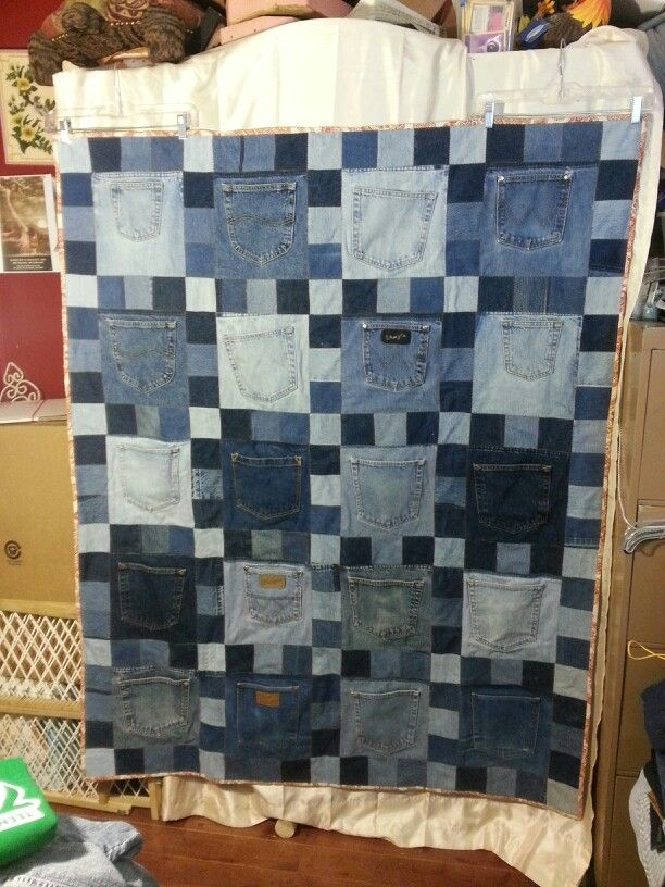 Upcycled Recycled Blue Jean Denim Quilt