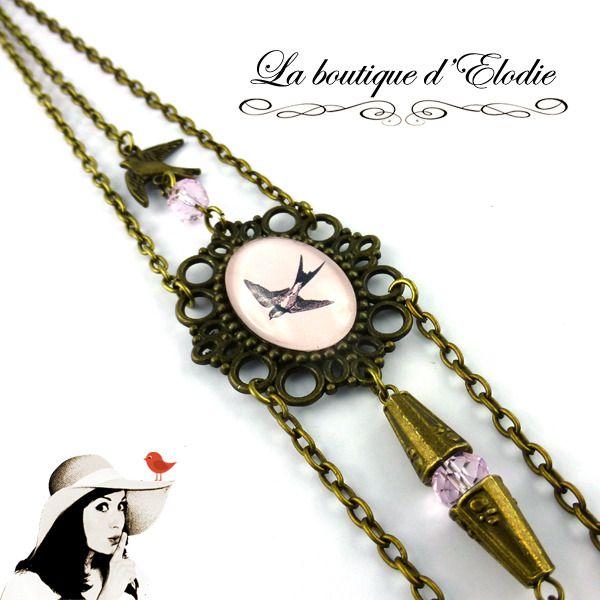 Headband chaine retro rose clair oiseau hirondelle vintage perles cabochon de verre : Accessoires coiffure par laboutiquedelodie