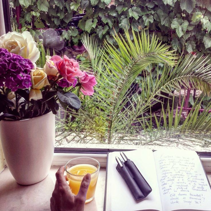 Writing. Flowers. Nature.Rain