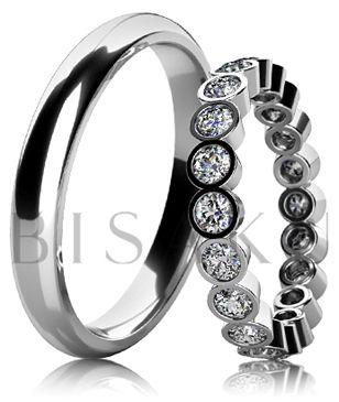 BD6-10 Elegantní snubní prsteny z bílého zlata v unikátním designu, oba prsteny jsou v lesklém provedení (vysoký lesk). Dámský prsten je po celém obvodě zdobený kameny. #bisaku #wedding #rings #engagement #svatba #snubni #prsteny #design