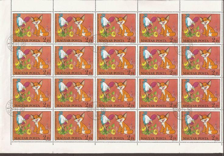 Hungary1982. SG 3465 Full sheet of 20 stamps (CTO) Vuk & Cock, cartoon, fox cub