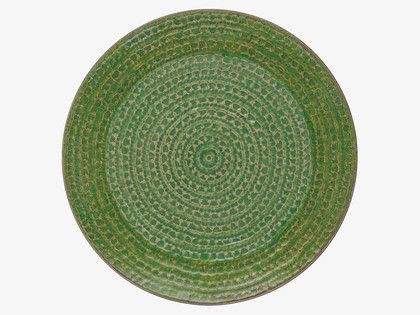 SINTRA GREENS Stoneware Green reactive glaze platter D34cm - HabitatUK