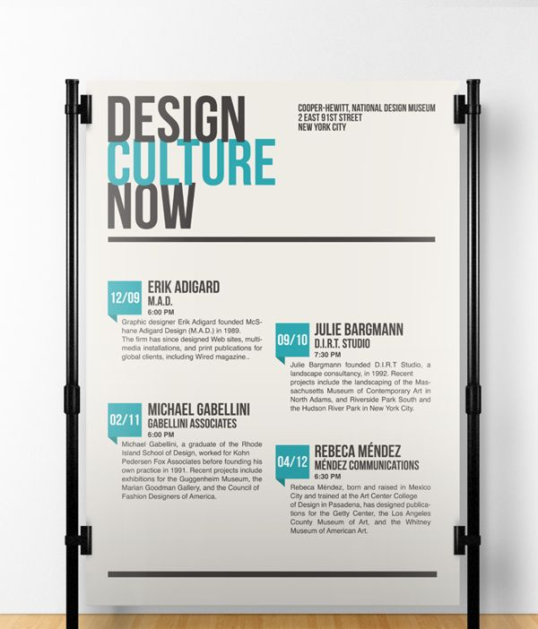 Design Culture Now, Poster by Anthony Clotuche, via Behance