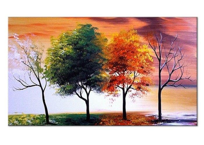 Modern Tree Wall Art - Four Seasons 132x16in - 1 Panel