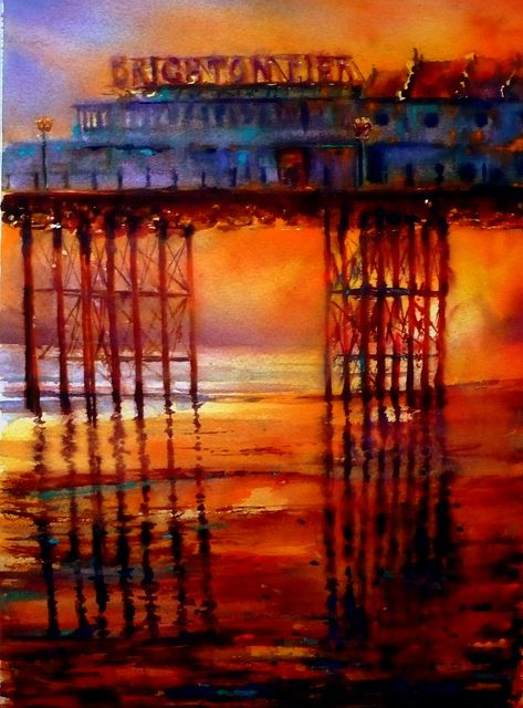 Brighton pier, of sand & sunsets | Flickr - Photo Sharing! painted by my brother Bill