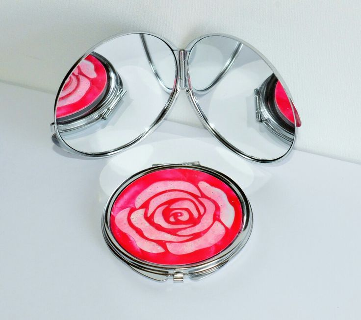 Encaustic wax painted rose compact mirror by Moo Doodle https://www.facebook.com/moodoodle15