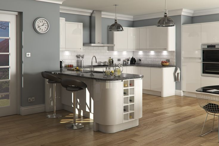 Welford Bright White / Luca Gloss White Kitchens - Buy Welford Bright White…