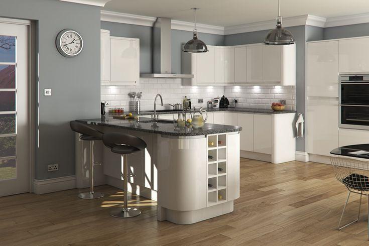 Welford Bright White / Luca Gloss White Kitchens - Buy Welford Bright White…