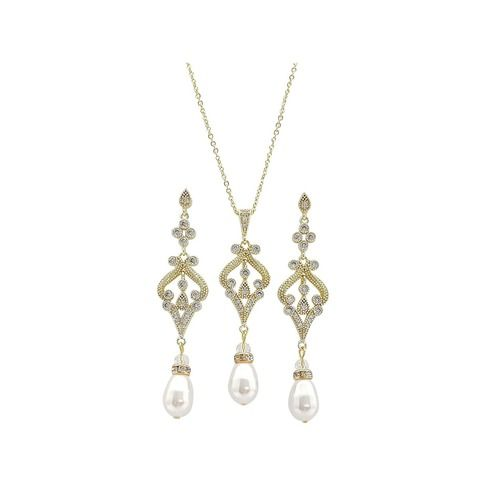 Gold Jewellery Set Necklace Set with Earrings for Weddings