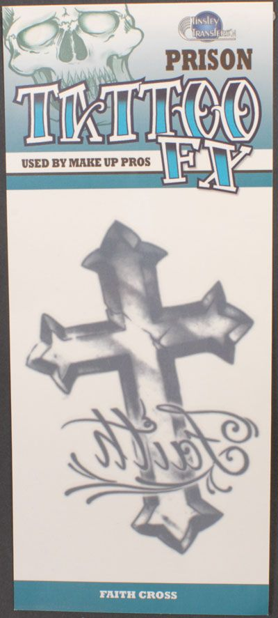TPR-310 RELIGIOUS CROSS/FAITH TATTOO 6PK