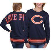 Chicago Bears PINK by Victoria's Secret Women's Varsity Stripe Crew Neck Pullover Sweatshirt - Navy Blue