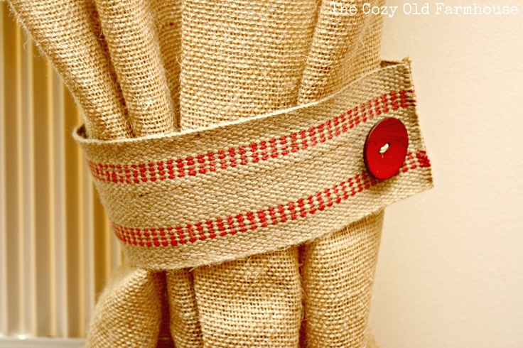 Use jute webbing for curtain tie backs
