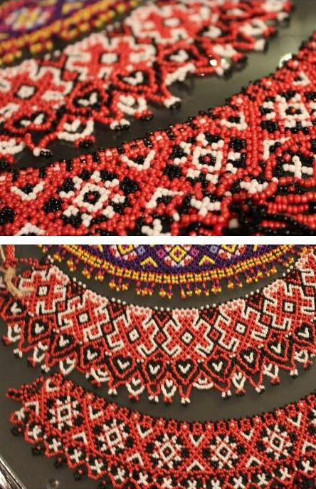 Netted beadwoven necklaces (gerdany) - traditional patterns from Ukraine.