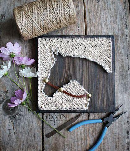 Животные ручной работы. Ярмарка Мастеров - ручная работа. Купить Картина Лошадь в стиле стринг арт. Handmade. Черно-белый