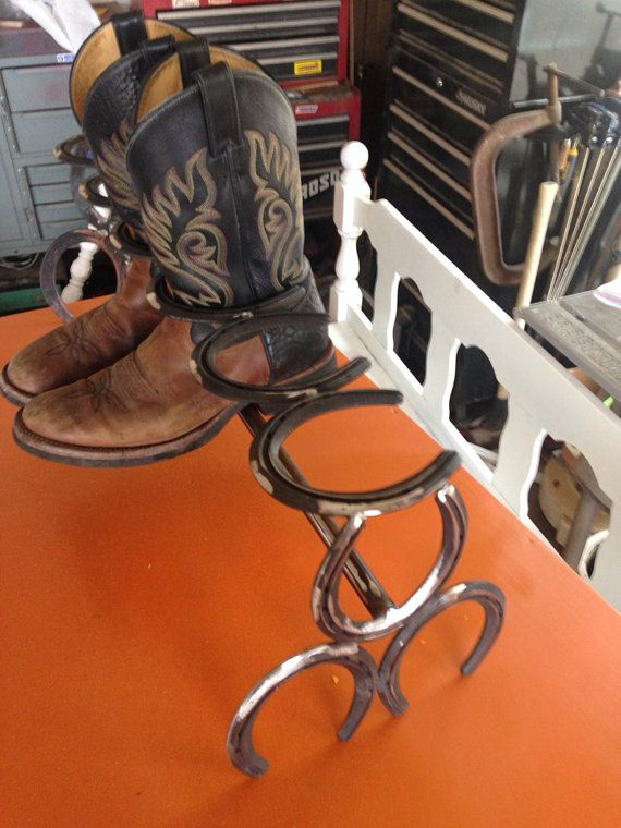 Horse shoe boot rack on Etsy, $45.00