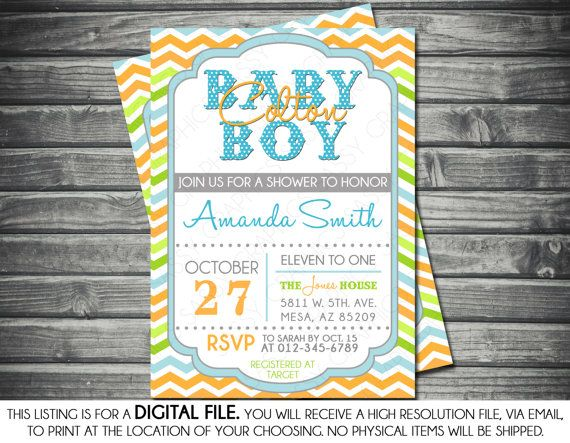 Baby Boy Shower Invitation   Itu0027s A Boy Chevron Blue Green Orange Oh Baby  DIY Printable Invite PDF