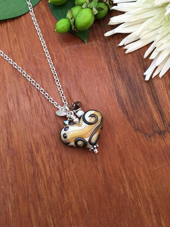 295 best handmade glass heart pendants images on pinterest glass heart pendant cream heart with metallic black scroll womens heart pendant lampwork heart necklace womens gift heart jewelry mozeypictures Images