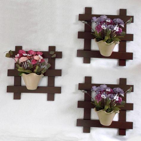 Trio de Treliça com Vaso de Flor