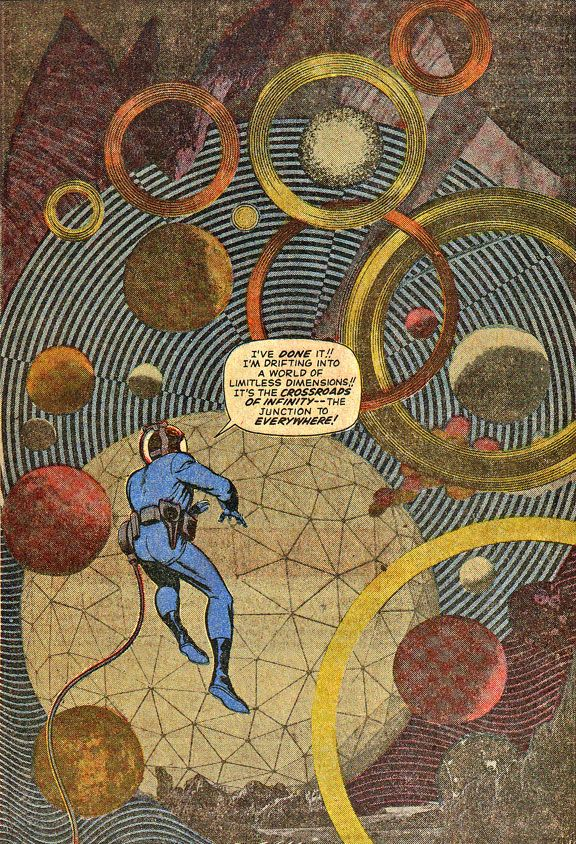 Jack Kirby, experimental photo collage technique, from a story called This Man… This Monster! Fantastic Four #51.