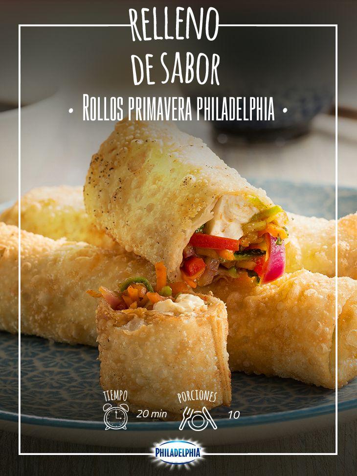 Llegó la hora de la comida, te recomendamos este delicioso Rollo primavera Philadelphia.