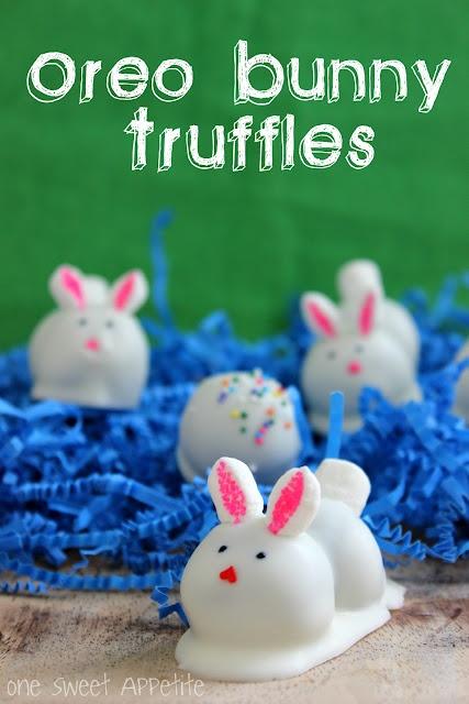 Oreo bunny truffles with mini marshmallow ears and tails