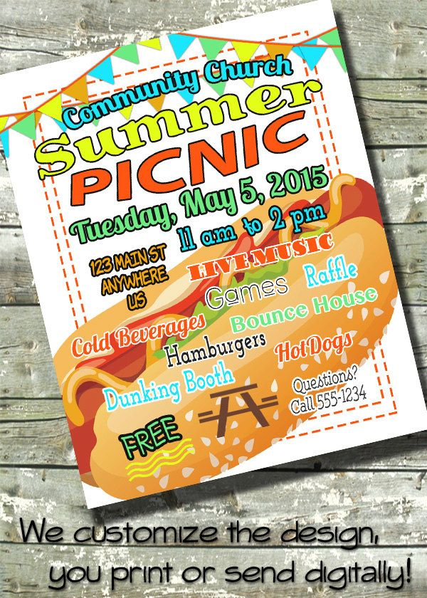 Summer Picnic Bbq Flyer Block Party 4th Of July Event
